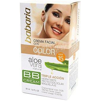 Babaria Crema hidratante facial color suave con Aloe Vera SPF-20 triple acción Tarro 50 ml