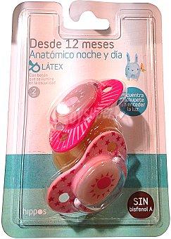 Hippos Chupete látex anatómico noche más de 12 meses rosa (se ilumina en la oscuridad) Pack de 2 unidades