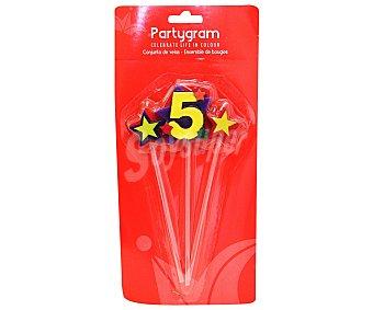 Partygram Velas (2 estrellas y número 5) partygram Pack de tres