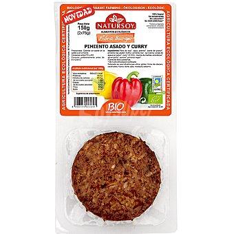 NATURSOY Fibra Burger Hamburguesa de pimiento asado y curry ecológica Envase 150 g