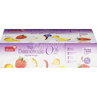 Aliada Yogur desnatado con frutas 2 fresa + 2 manzana + 2 piña + 2 melocotón pack Unidades 125 g