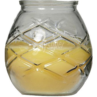 SPAAS Vela exterior de citronella en vaso de cristal color amarillo