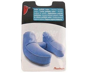 Auchan Almohada cervical de viaje, inflable de 35x27 centímetros y color azul 1 unidad