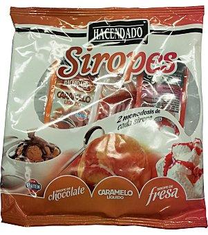 Hacendado Sirope monodosis (2 chocolate, 2 caramelo, 2 fresa) Paquete 90 g