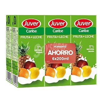 Juver Zumo fruta+leche Caribe pack de 6x200 ml