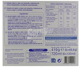 Auchan Conos sabor Nata con trocitos de almendra caramelizada 6 Unidades de 120 Mililitros