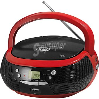 TREVI CMP532 USB Radio CD MP3 portátil con USB en color negro y rojo