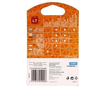 Dymo letratag Cintas para rotulación, etiquetaje e identificación de 12 milímetros. Estas etiquetas de plástico blanco son resistentes a desgarros y fáciles de usar. dymo 4 metros 1u