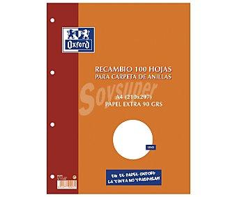 Oxford Recambio tamaño folio, con cuadrícula de 4x4 milímetros, margen izquierdo, 4 taladros y 100 hojas de OXFORD 90 gramos