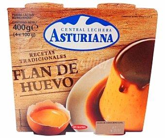 Central Lechera Asturiana Flan de huevo Pack 4 Unidades de 125 Gramos
