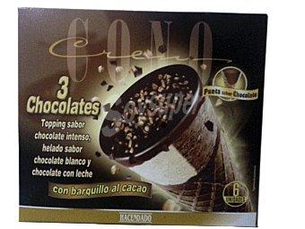 HACENDADO HELADO CONO TRES CHOCOLATES CAJA 6 u