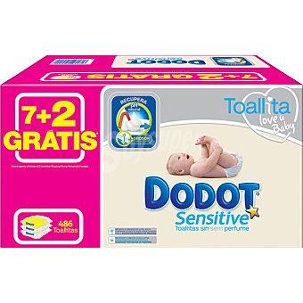 DODOT SENSITIVE Toallitas infantiles + 2 envases 54 unidades gratis 7 envases de 54 unidades + 2 envases gratis