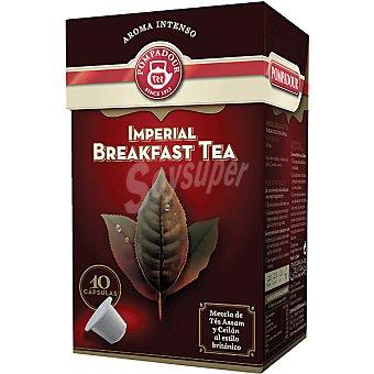 Pompadour té Imperial Breakfast mezcla de tes de Assam y Ceilán al estilo británico 10 cápsulas estuche 32 g compatibles con máquinas de café Nespresso 10 c