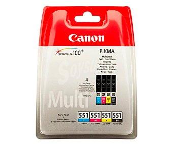 Canon Pack de cartuchos de tinta CLI-551, negro, cian, magenta y amarillo, compatible con impresoras: Pixma iP7250, MG5450, MG5550, MG6350, MG6450, MG7150, MX925