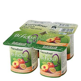 Carrefour Yogur bífidus desnatado con trozos de melocotón y zumo de maracuyá Pack de 4 unidades de 125 g