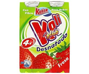 KALIGLUB de KALISE Yogur Líquido Desnatado con Fresa Pack 4 Unidades de 187 Gramos