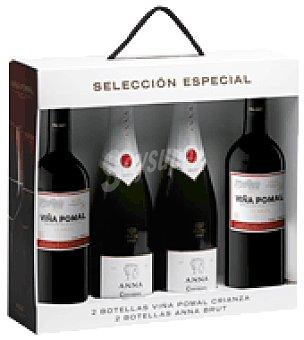 Anna de Codorniu Estuche selección especial 2 botellas Viña Pomal crianza + 2 brut pack de 4x75 cl