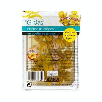 Hacendado Banderillas gildas (pinchos de anchoa, aceitunas y guindillas) Paquete 150 g escurrido 95 g
