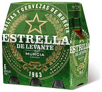 Estrella Levante Cerveza Pack de 6 botellines de 25 cl
