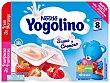 Postre lácteo con sabor a fresa y frambuesa para bebés a partir de 8 meses Pack 6 tarrinas x 60 g Yogolino Nestlé