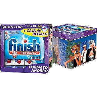 FINISH CALGONIT Detergente lavavajillas Power Ball Quantum lata 60 pastillas formato ahorro con lata litografiada de regalo Lata 60 pastillas