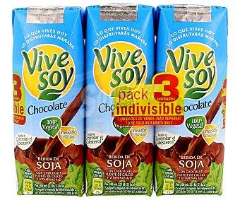 Vivesoy Bebida de Soja sabor Chocolate - Paquete de 3 x 250 ml - Total 750 ml