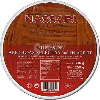 Nassari Filetes de anchoas en aceite elaboración artesanal Envase 330 g