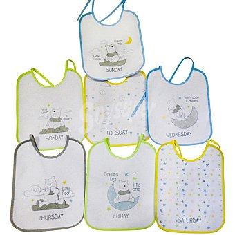 DISNEY Set 7 baberos de rizo con dibujos de Winnie the Pooh 1 unidad
