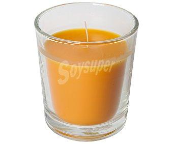 Auchan Vela en vaso transparente perfumada con olor a naranja 1 unidad