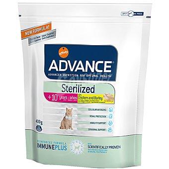 Advance Affinity Alimento de alta gama para gatos esterilizados de + 10 años con pollo y cebada Sterilized Bolsa 400 g