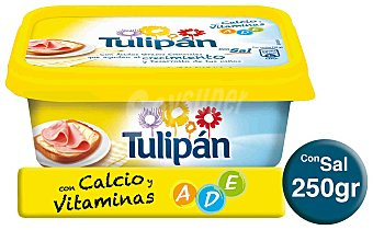 Tulipan Margarina 3/4, 100% vegetal con sal con Calcio 250 g