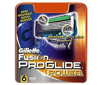 Gillette Recambio de cuchillas de 5 hojas para maquinilla de afeitar Gillette Fusion Proglide 6 unidades