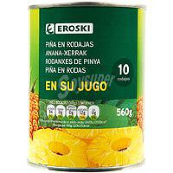 Eroski Piña en rodajas en su jugo Lata 340 g