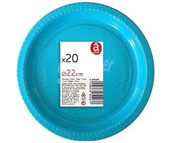 Actuel Platos llanos desechables de 22 centímetros de diámetro color turquesa 20 unidades