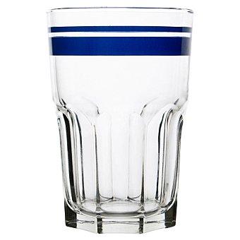 Luminarc Vaso grande de vidrio con raya en color azul  40 cl