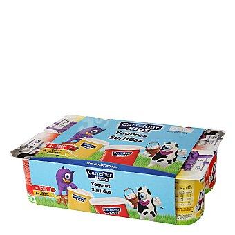 Carrefour Kids Yogur de fresa y plátano Pack de 8x125 g