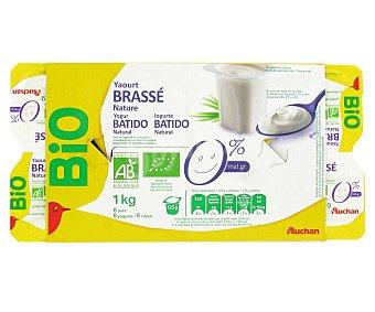 Auchan Yogur natural 0% Bio 8 Unidades de 125 Gramos