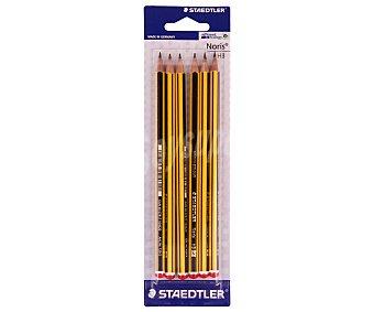 Staedtler Lote de 6 lápices de grafito, con cuerpo de color amarillo y negro y dureza 2HB, noris 1 unidad