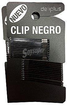 DELIPLUS Gancho cabello clip negro puntas curvadas Paquete de 24 unidades