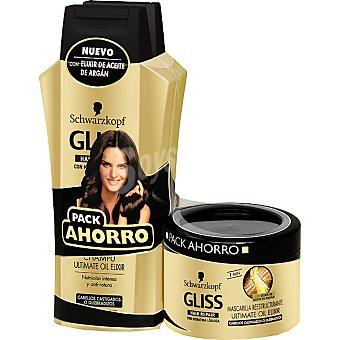 Gliss Schwarzkopf Champú ultimate oil elixir con keratina líquida Hair Repair Pack 2