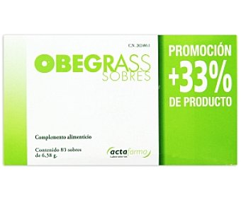OBEGRASS Complemento alimenticio a base de fibras y extractos de plantas, 60 Sobres de 6,38 Gramos