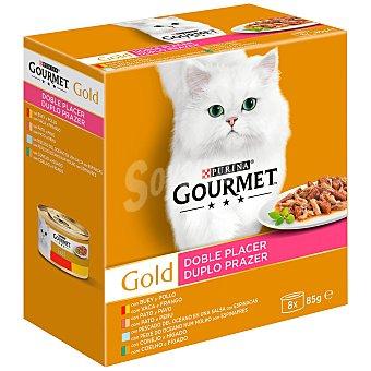 Gourmet Gold Doble placer comida húmeda para gatos con buey y pollo, conejo e hígado, pescado y pato y pavo Pack 8 x 85 g