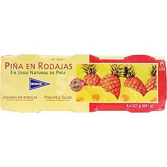 Hipercor Piña en su jugo natural pack 3 latas 139 g Pack 3 latas 139 g