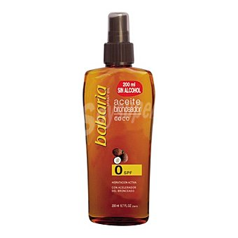 Babaria Aceite bronceador coco spray FP 0 sin alcohol 200 ml