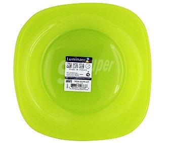 LUMINARC Plato de postre modelo Carina Colors de 18 centímetros, fabricado en vidrio templado de color verde y diseño cuadrado con bordes redondeados 1 Unidad