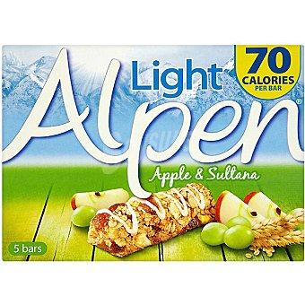 ALPEN Light Barritas de cereales con manzana y uva 5 unidades estuche 95 g 5 unidades