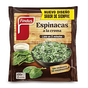 Findus Bolsa de espinacas a la crema, sin colorantes, ni conservantes 450 gr