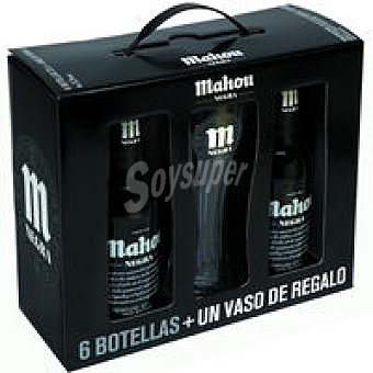 Mahou Cerveza negra Pack 6x33 cl + Vaso
