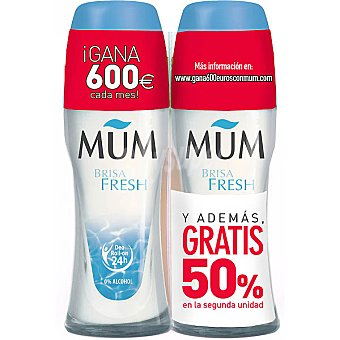 Mum Desodorante roll on Brisa Fresh sin alcohol pack 2 envase 50 ml ( pack especial 2ª unidad al 50% ) Pack 2 envase 50 ml