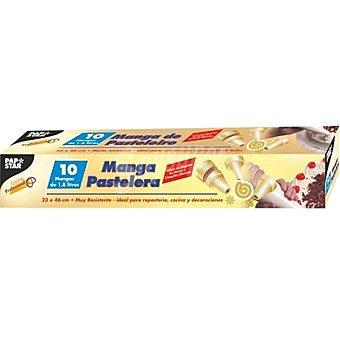 Papstar Manga pastelera transparente para repostería y decoración 3 boquillas Paquete 10 unidades